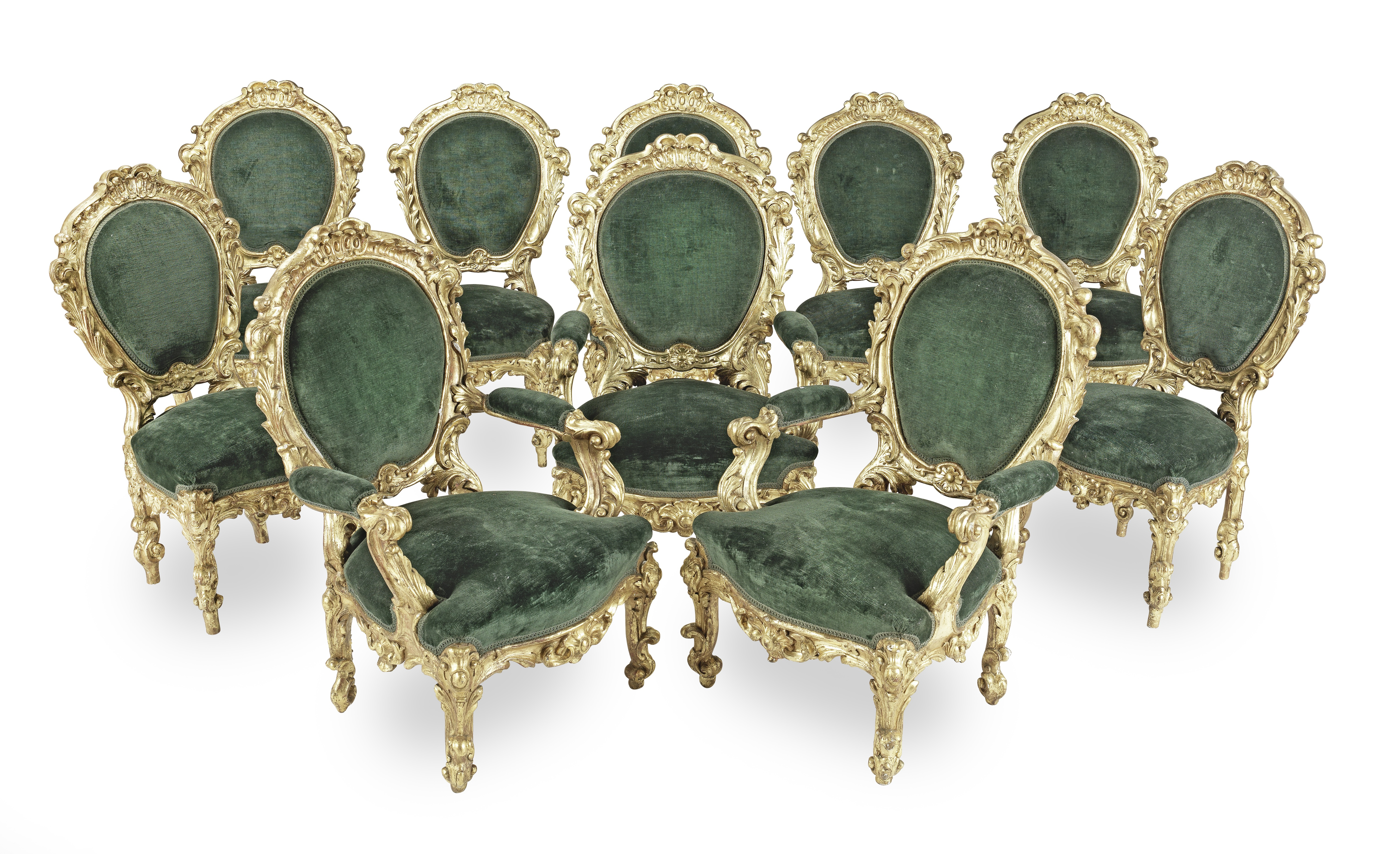 An Italian 19th century giltwood suite of 'palazzo' seat furniture comprising seven side chairs a...