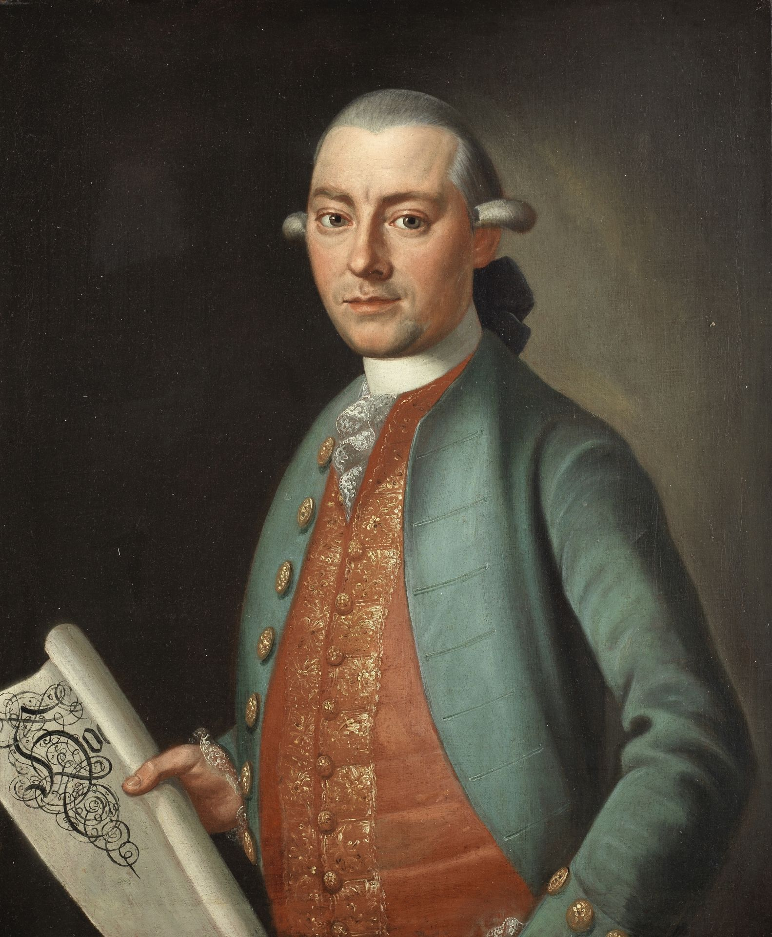 German School, 18th Century Portrait of a gentleman, half-length, in a green coat and embroidered...