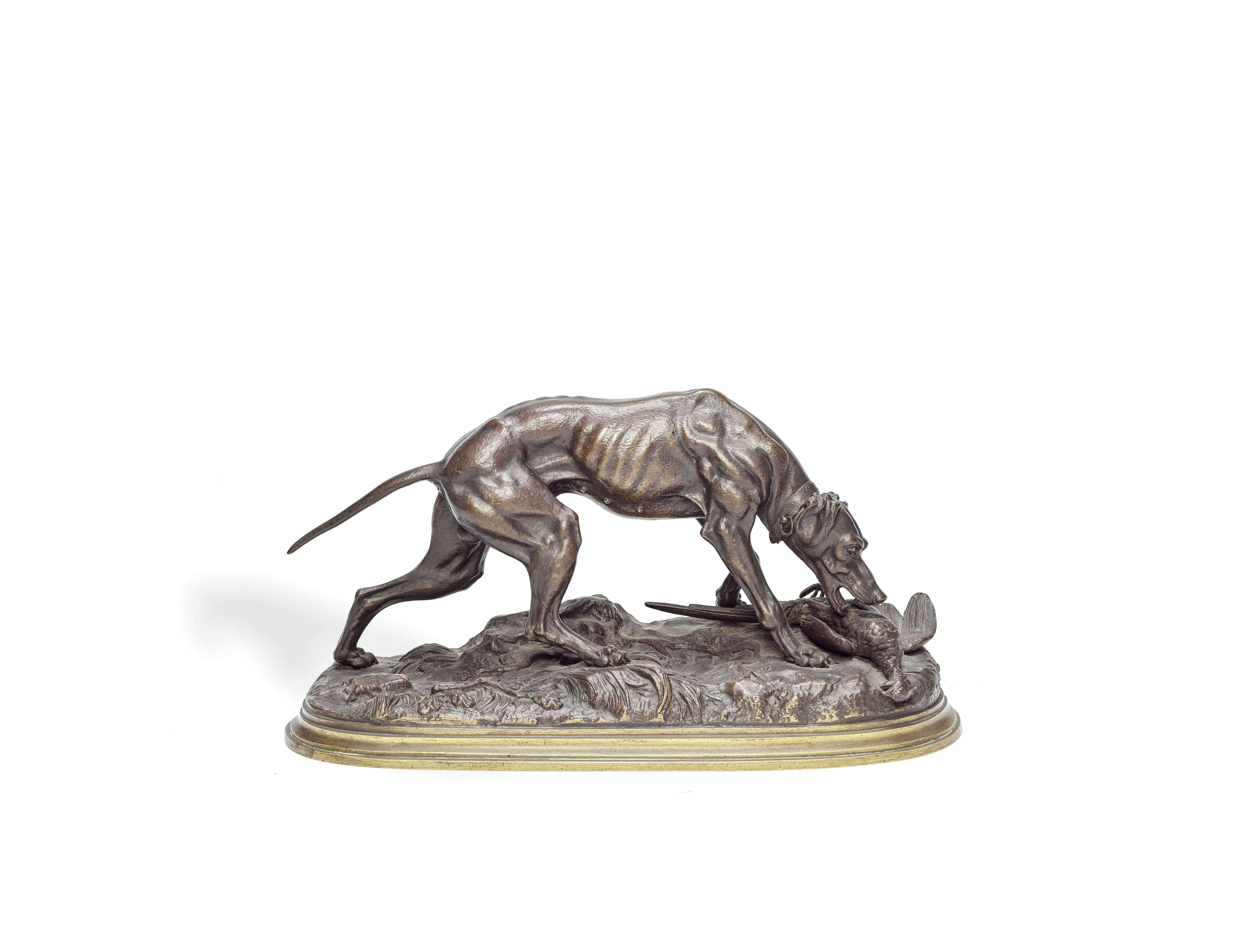 Jules Moigniez (French, 1835-1894): A patinated bronze model of a dog with a pheasant