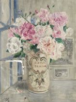 Valentine Synave Nicolaud (Fray) Val (Belgian, 1870-1943) Vase of roses
