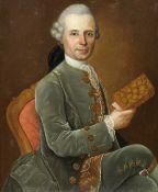 German School, 18th Century Portrait of a gentleman, three-quarter-length, seated, in a grey velv...