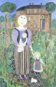 Dora Holzhandler (British, 1928-2015) Mother and Children in Garden (Painted in 1999)