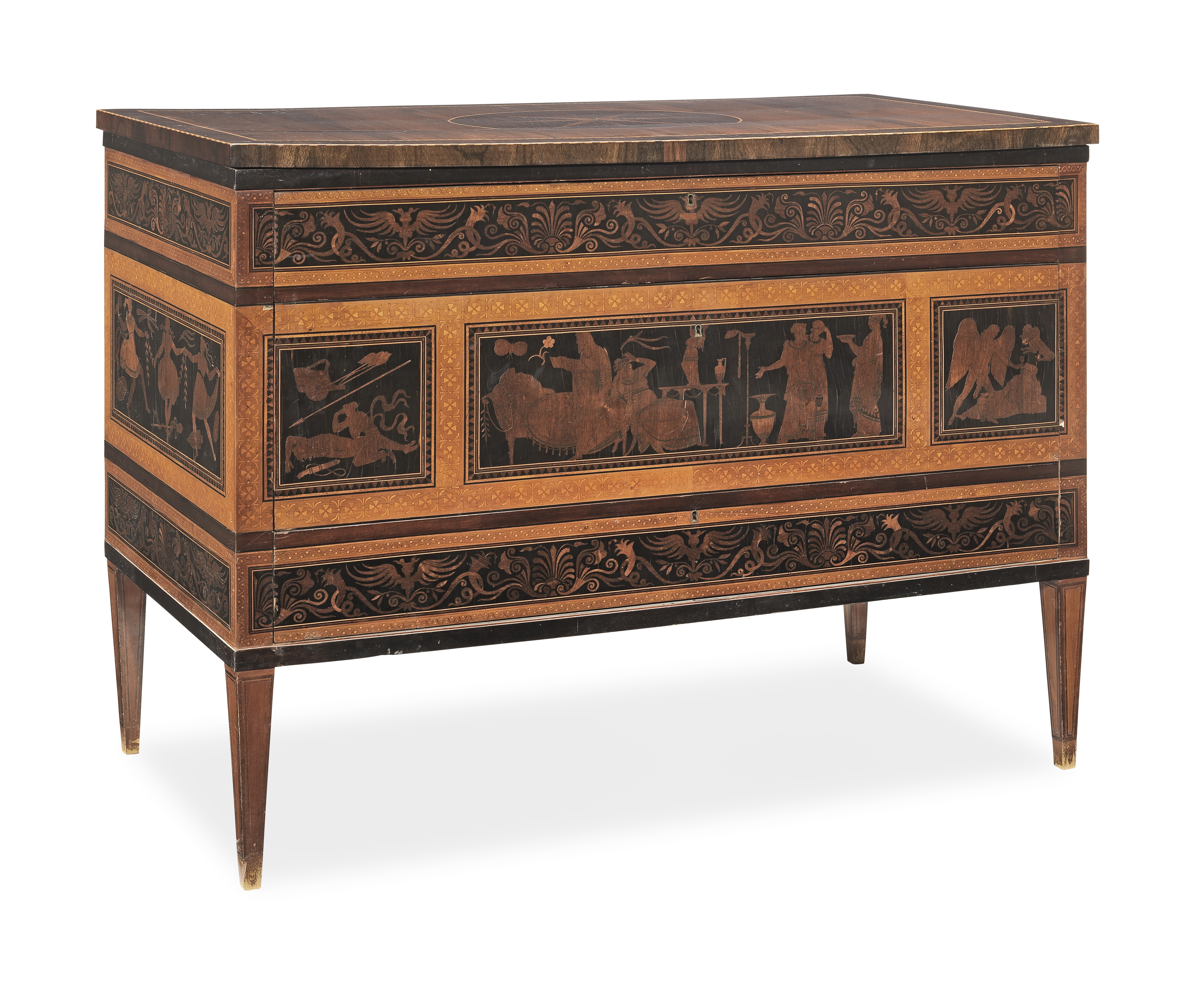 A pair of Italian early 19th century rosewood, ebony, purplewood, sycamore marquetry and chequer-...