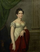 French School, 19th Century Portrait of a Lady, half length, with a red shawl unframed
