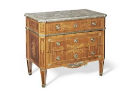 A Swedish late 18th/early 19th century ormolu mounted rosewood and marquetry commode in the manne...