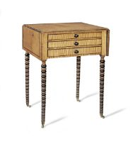 A Regency satinbirch, purplewood line-inlaid and ebonised Pembroke work table