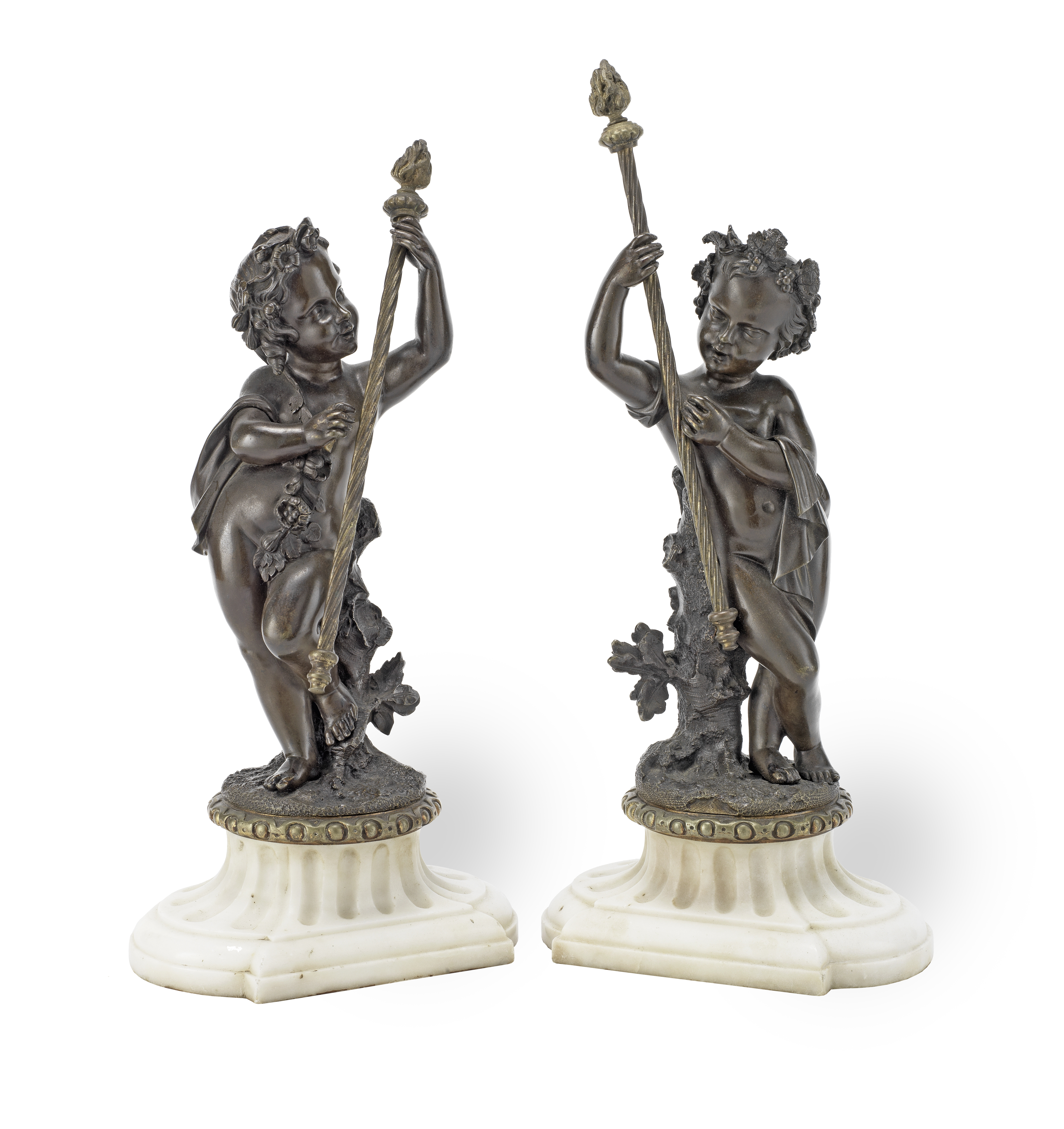 A pair of 19th century French patinated bronze figures of Bacchanalian putti (2)