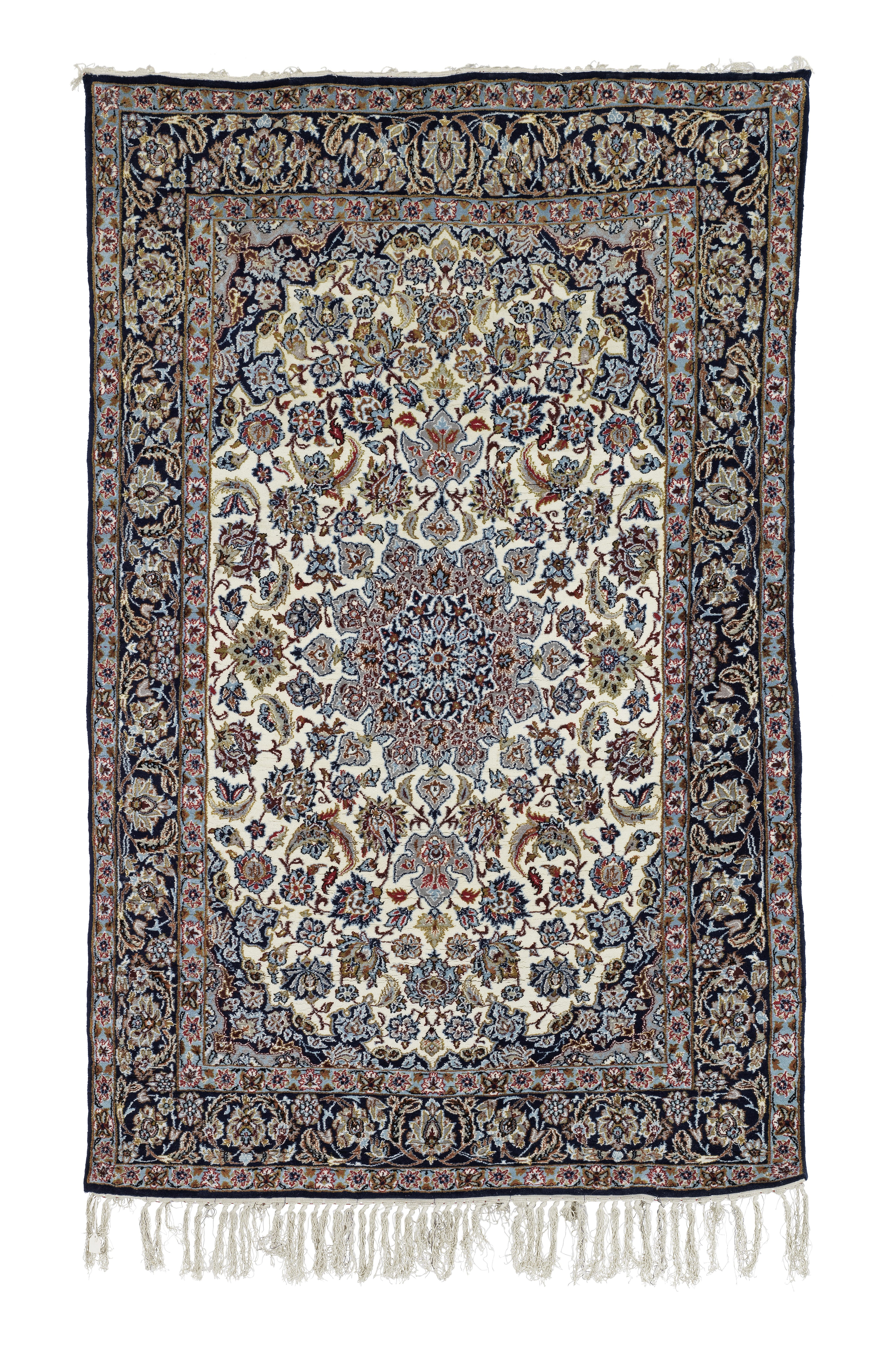 A Large Cream Ground Nian Medallion Carpet and a Smaller Cream Ground Nian Medallion Carpet 242cm...