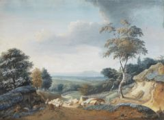 Lazare Bruandet (Paris 1755-1804) A cattleherd on a country lane unframed