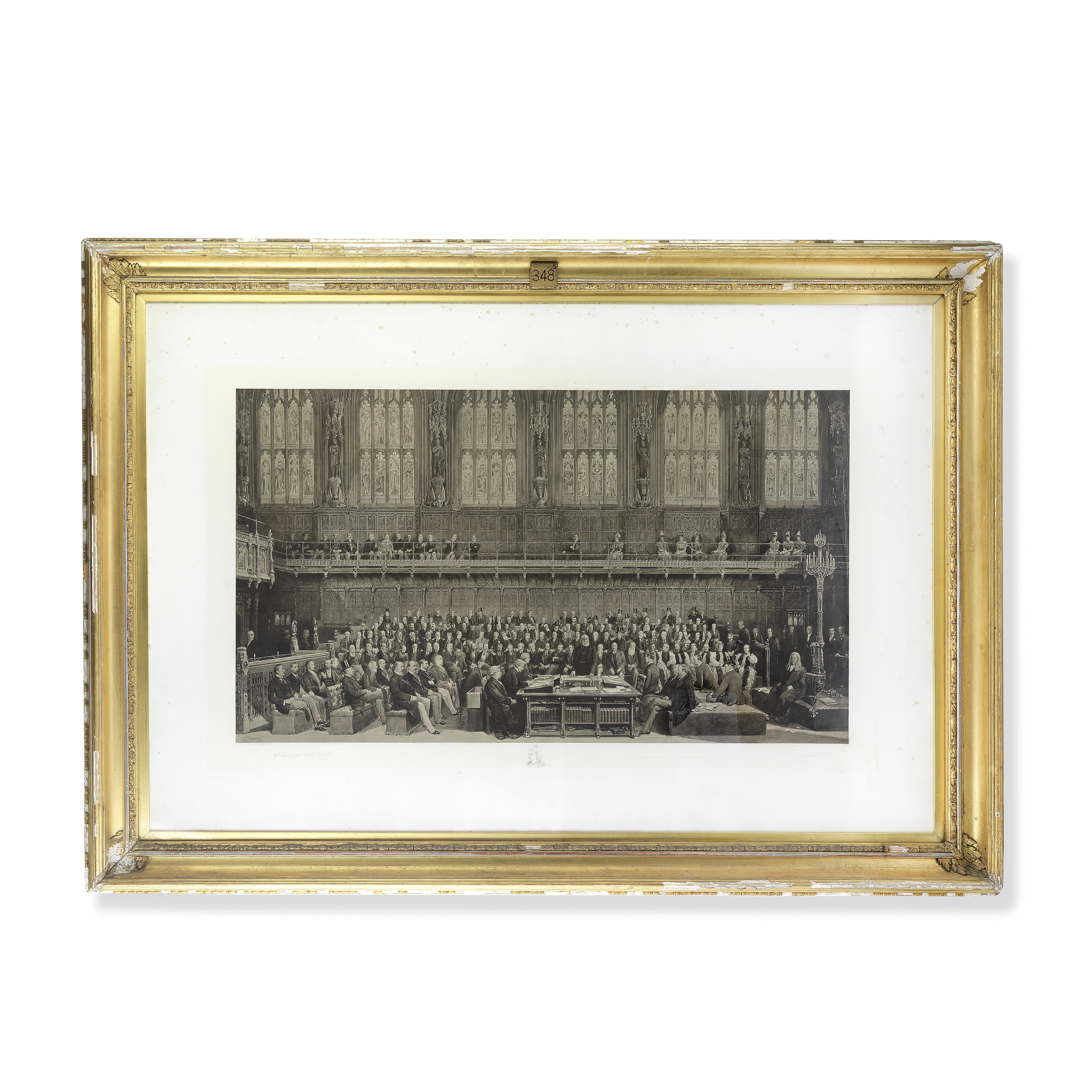 A late 19th century print depicting 'The House of Lords, 1897' showing various dignitaries and po...