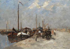 Bernardus Cornelis Noltee (Dutch, 1903-1967) Busy harbour scene