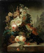 Manner of Cornelis van Spaendonck Still life of flowers and fruit on a pedestal