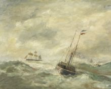 French School, 19th Century Shipping in heavy seas