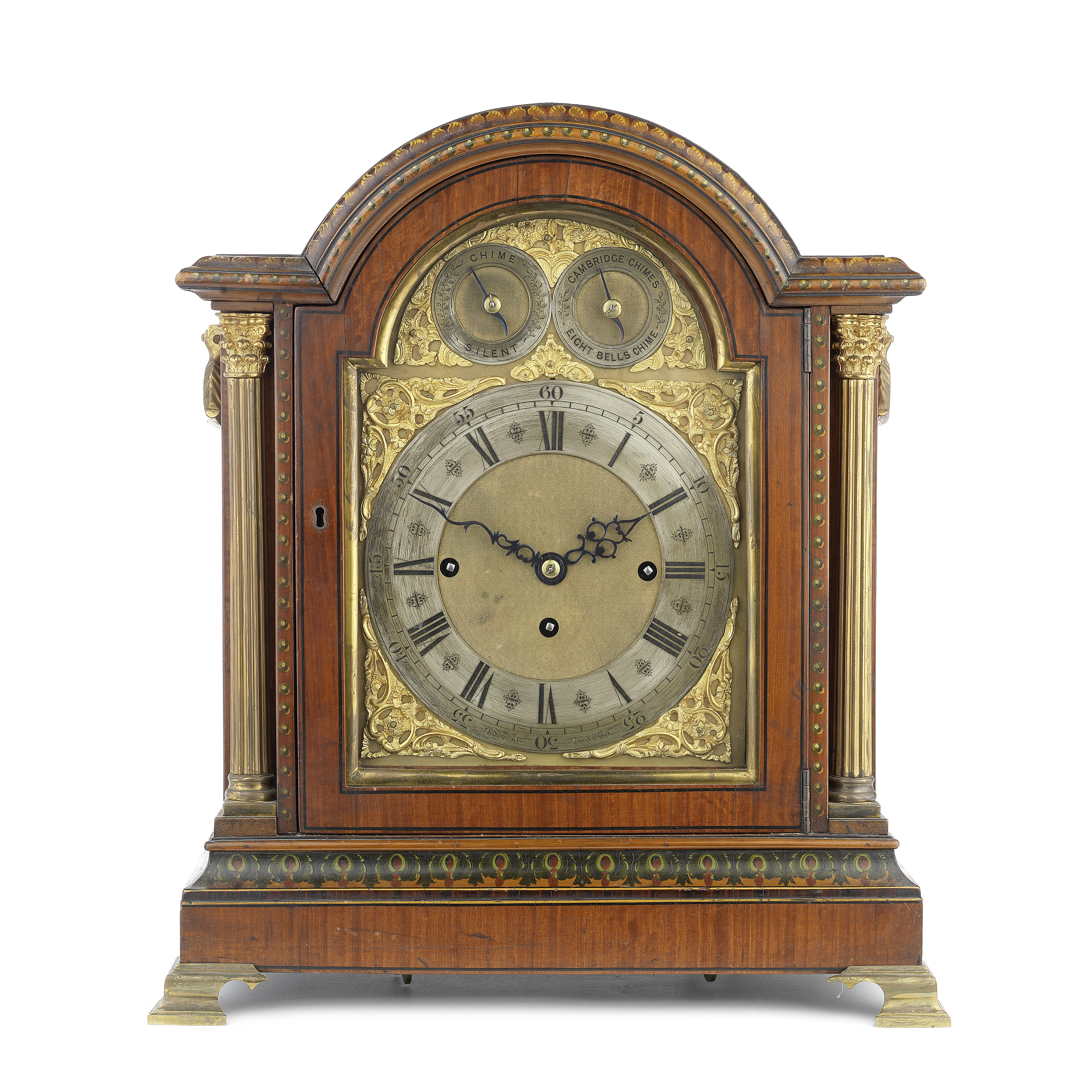 A late 19th century painted satinwood and brass mounted chiming bracket clock in the Sheraton rev...
