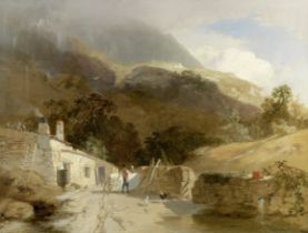 Manner of James Baker Pyne Farm buildings in a valley