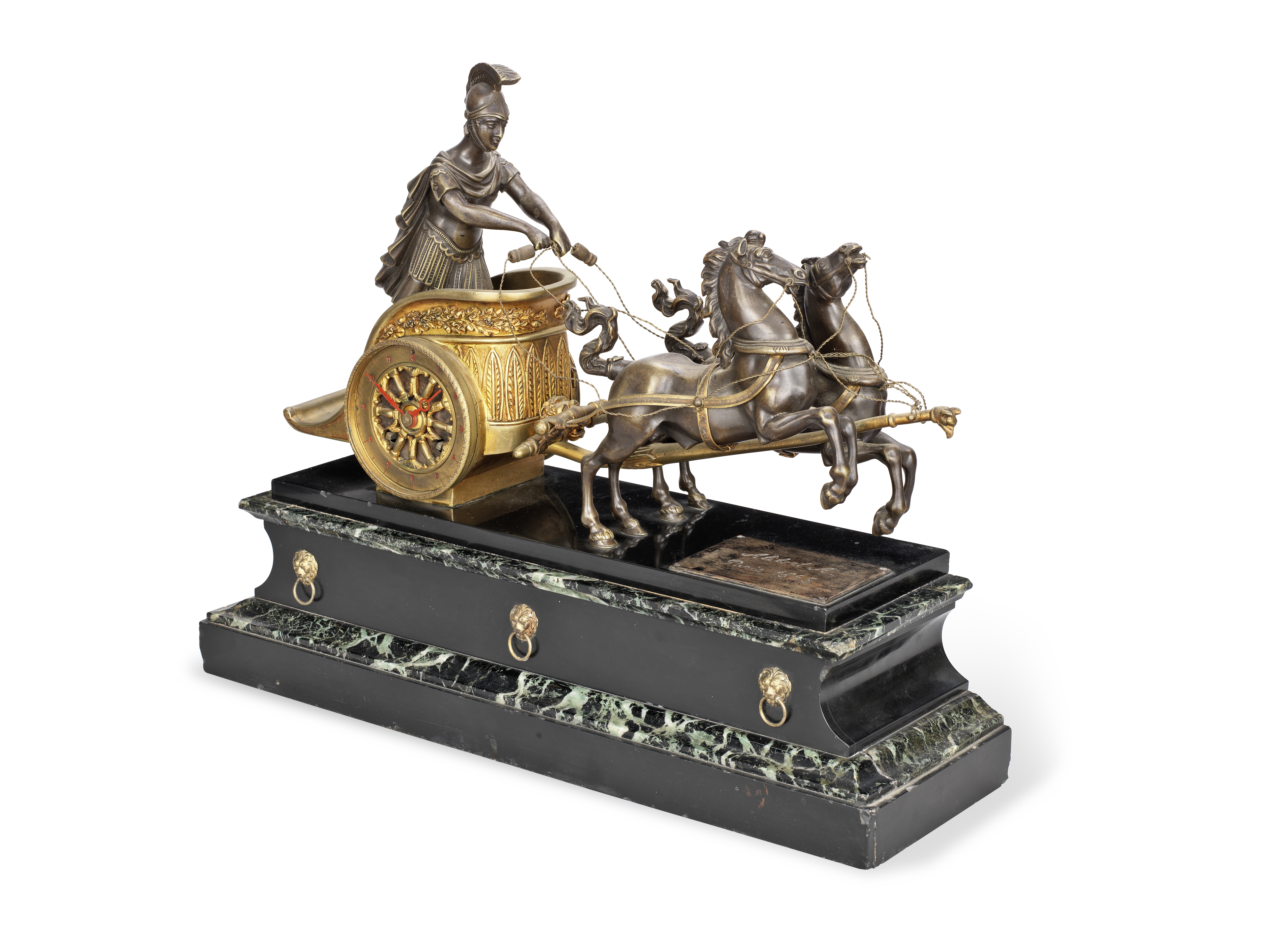 A late 19th century French bronze and marble mantel figural clock the movement stamped Vincenti