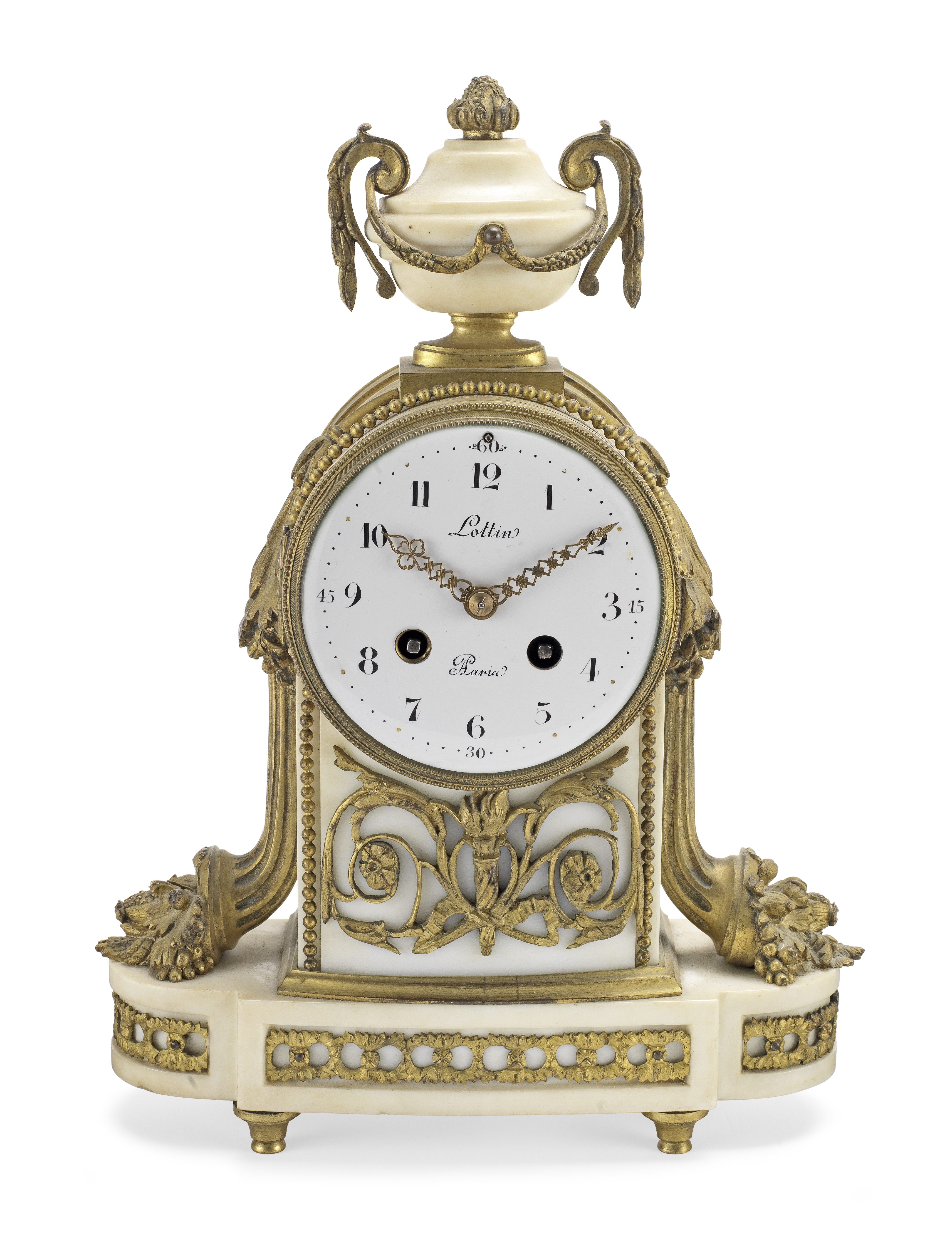 A late 19th/early 20th century French gilt bronze mounted white marble mantle clock the dial sign...