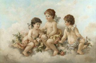 Charles Augustus Henry Lutyens (British, 1829-1915) Cherubs in the clouds