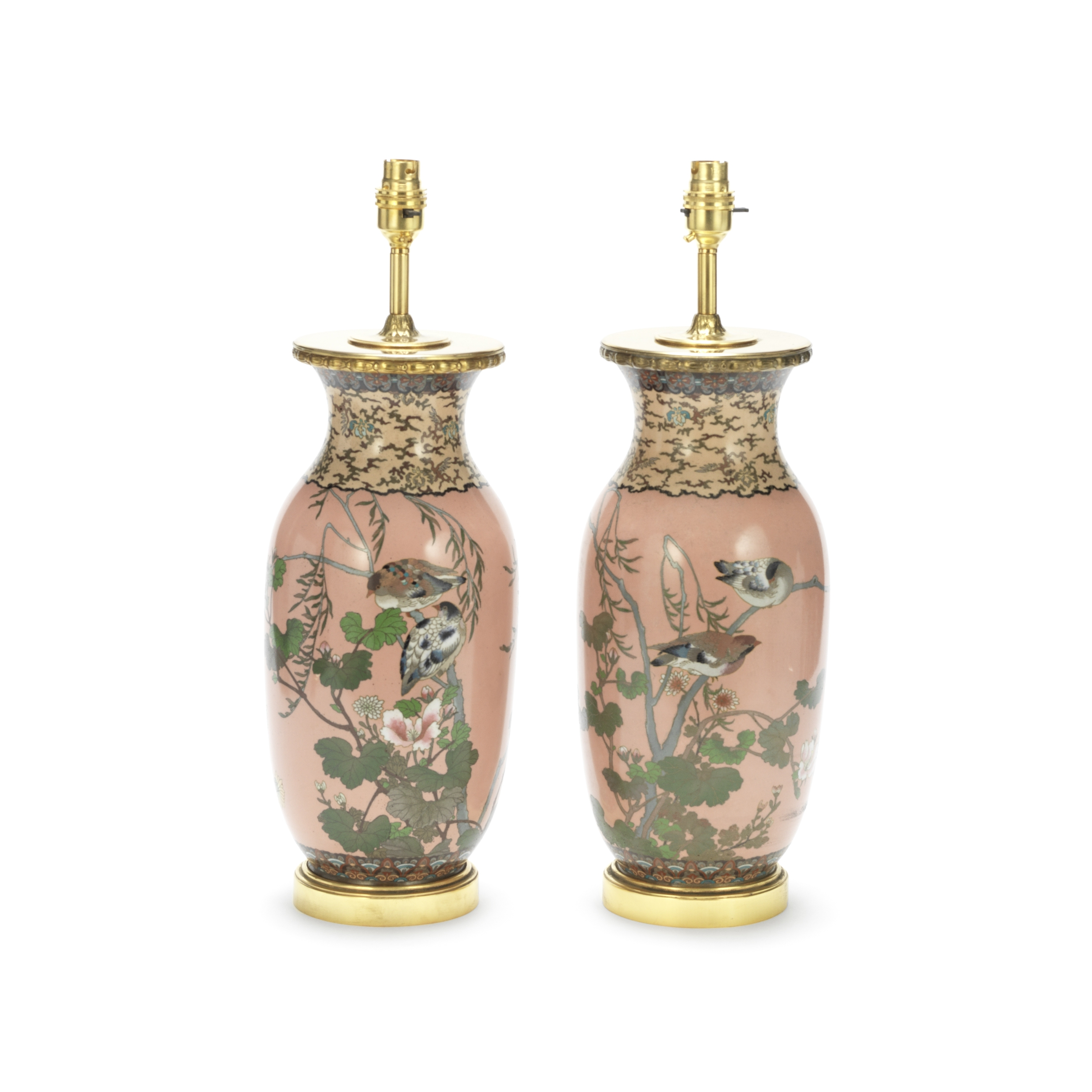 A pair of late 19th century / early 20th century Japanese pink ground cloisonné baluster vas...
