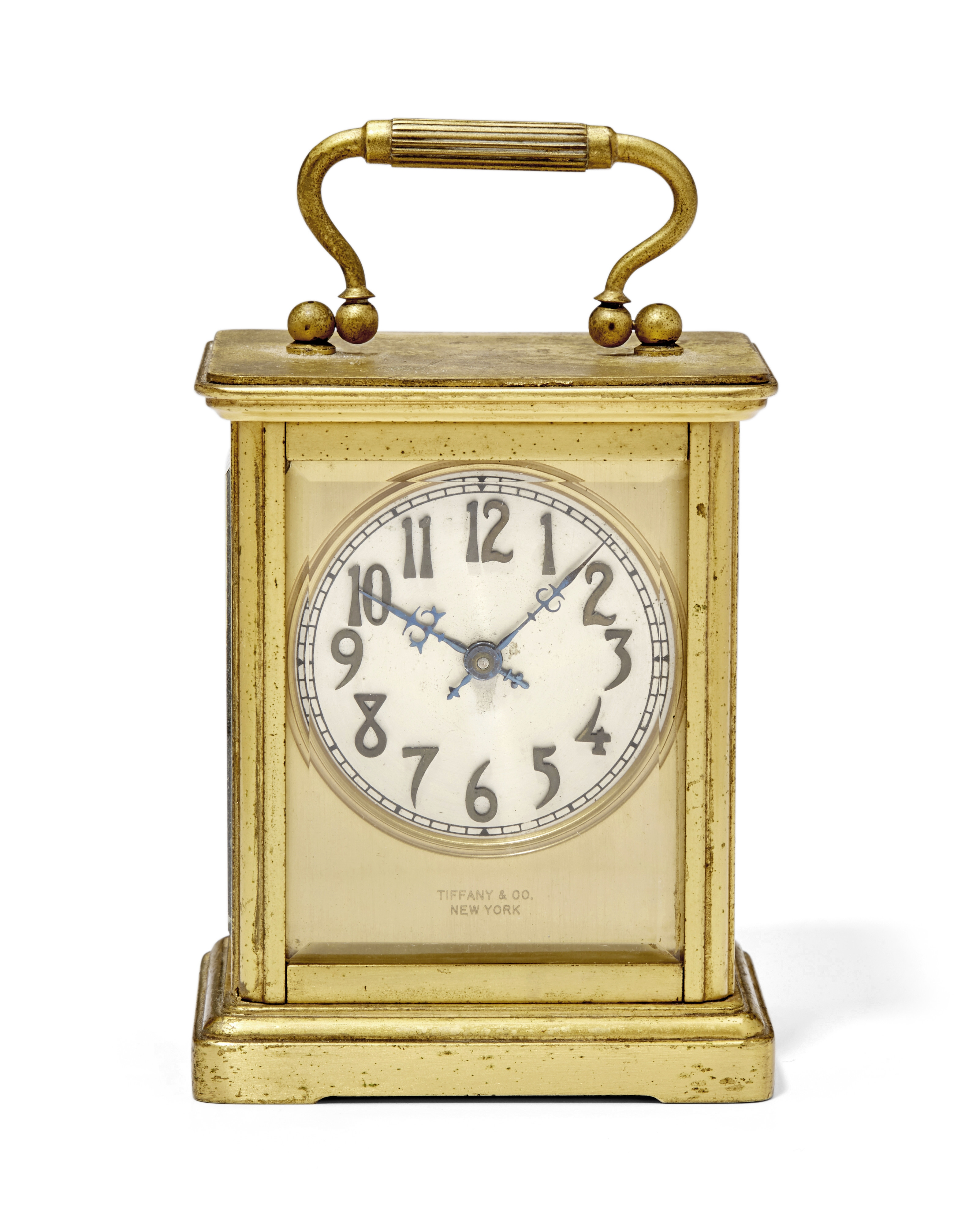 An early 20th century American gilt carriage timepiece signed Chelsea Clock Co., Boston, and reta...