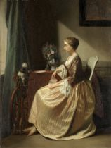 Continental School (19th Century) Interior with lady seated, reading a letter