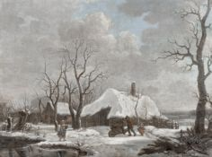 Dutch School, 19th Century Cottages in winter with figures collecting wood