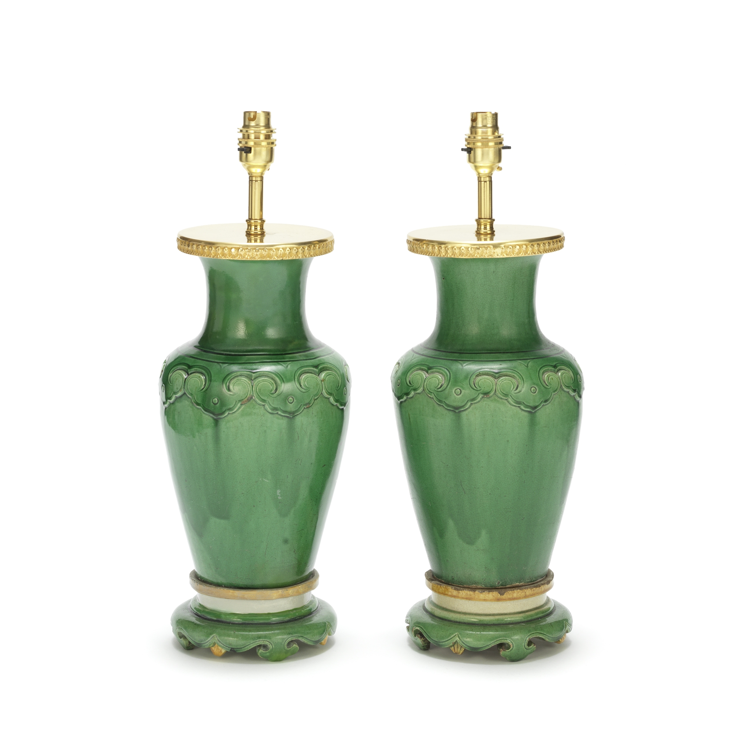 A pair of late 19th / early 20th century Chinese green glazed pottery baluster vase lamp bases (2)