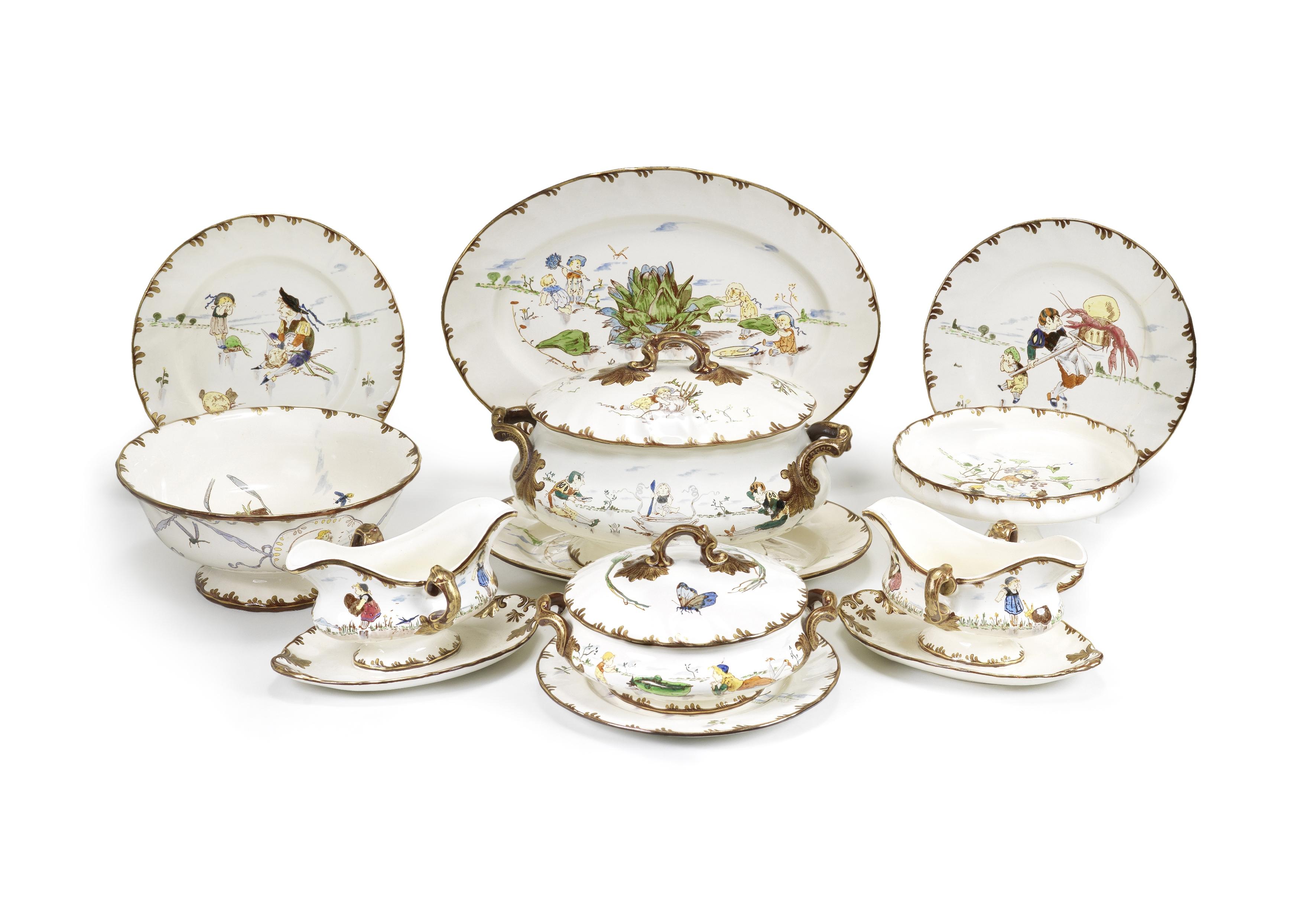 An extensive late 19th century Creil et Montereau porcelain service, décor 'Parisien' design...