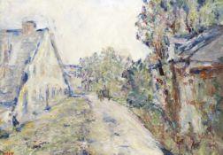 Paul Kron (French, 1869-1936) Charrette dans la rue du village