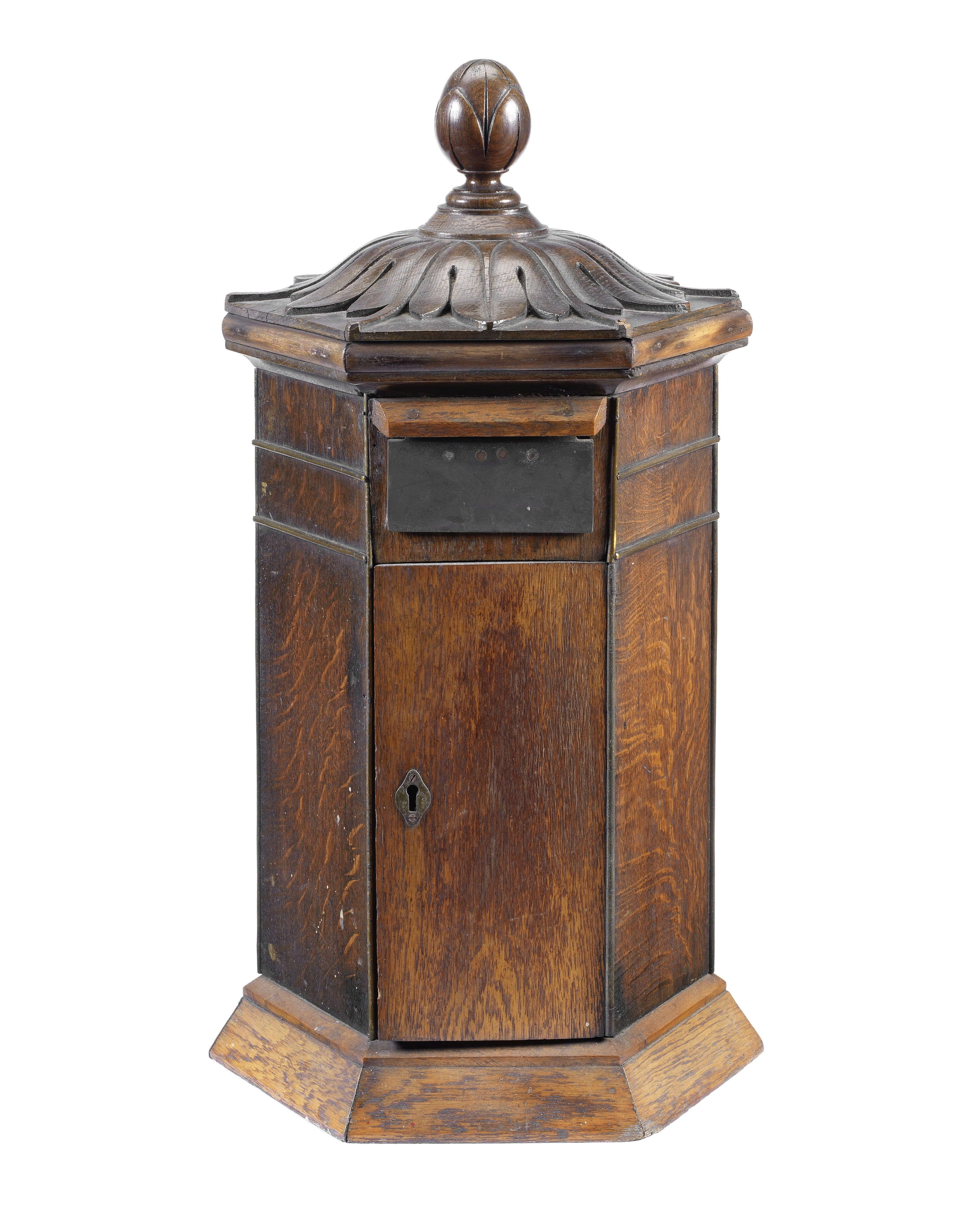 An oak 'Country House' type domestic post box in the Victorian style and made from earlier compon...