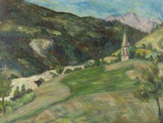 French School (20th century) Paysage de montagne à l'eglise