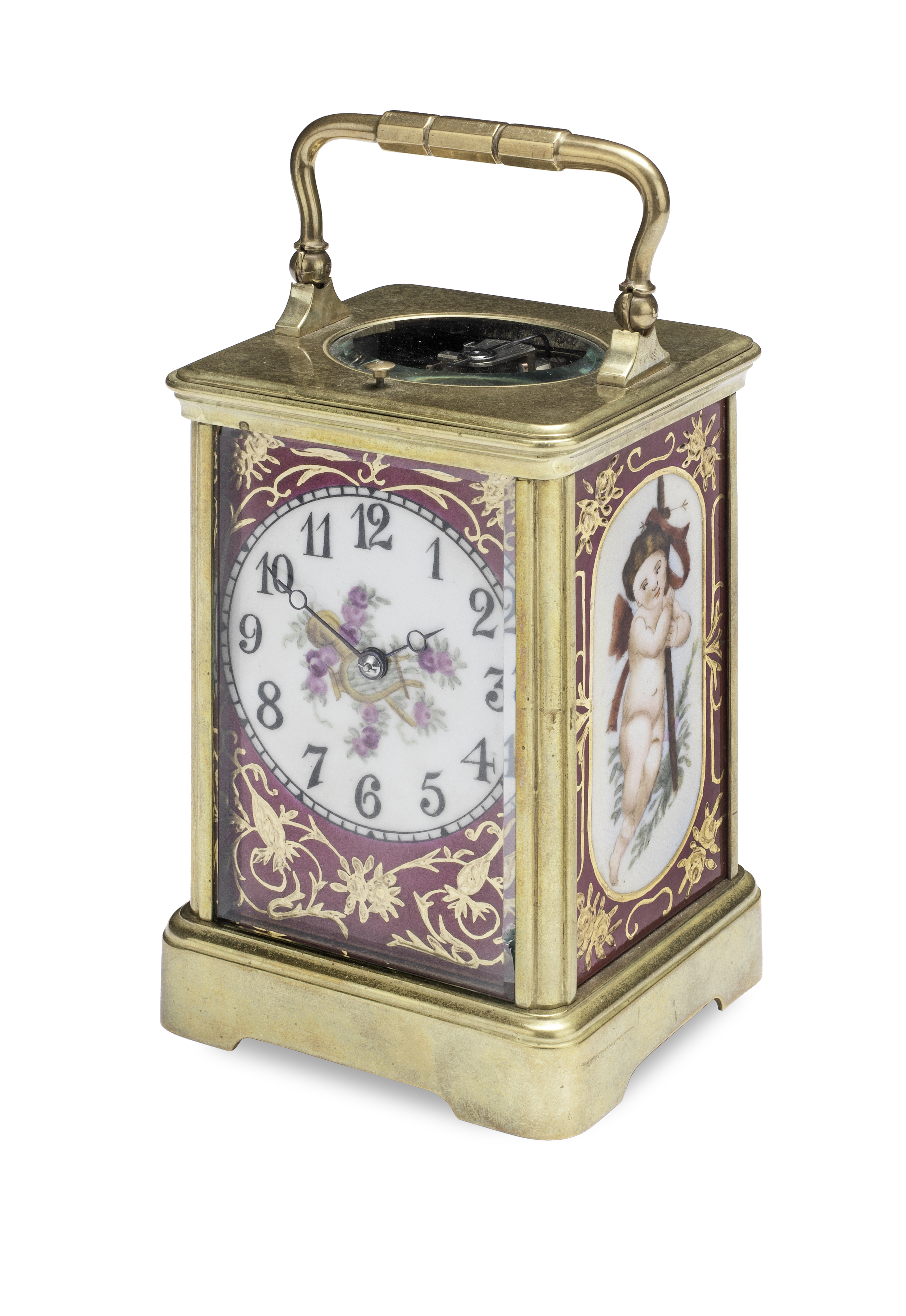 A porcelain panelled carriage clock the late 19th century movement stamped CET, the inset porcel...