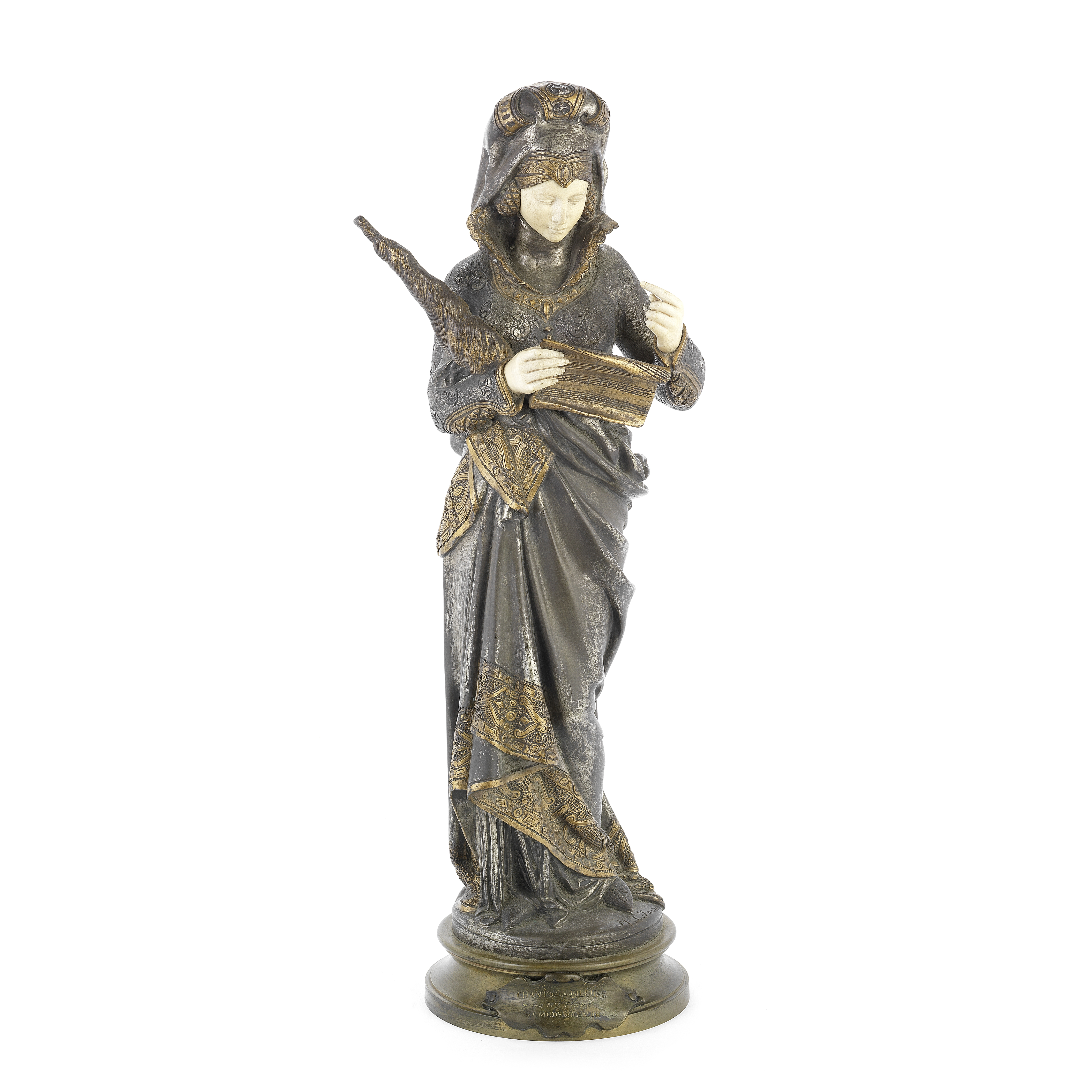 After Maurice Constant Favre (French, 1875-1919): A late 19th / early 20th century patinated, sil...