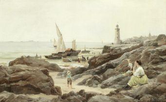 Charles Euphrasie Kuwasseg (French, 1838-1904) Waiting for the boats