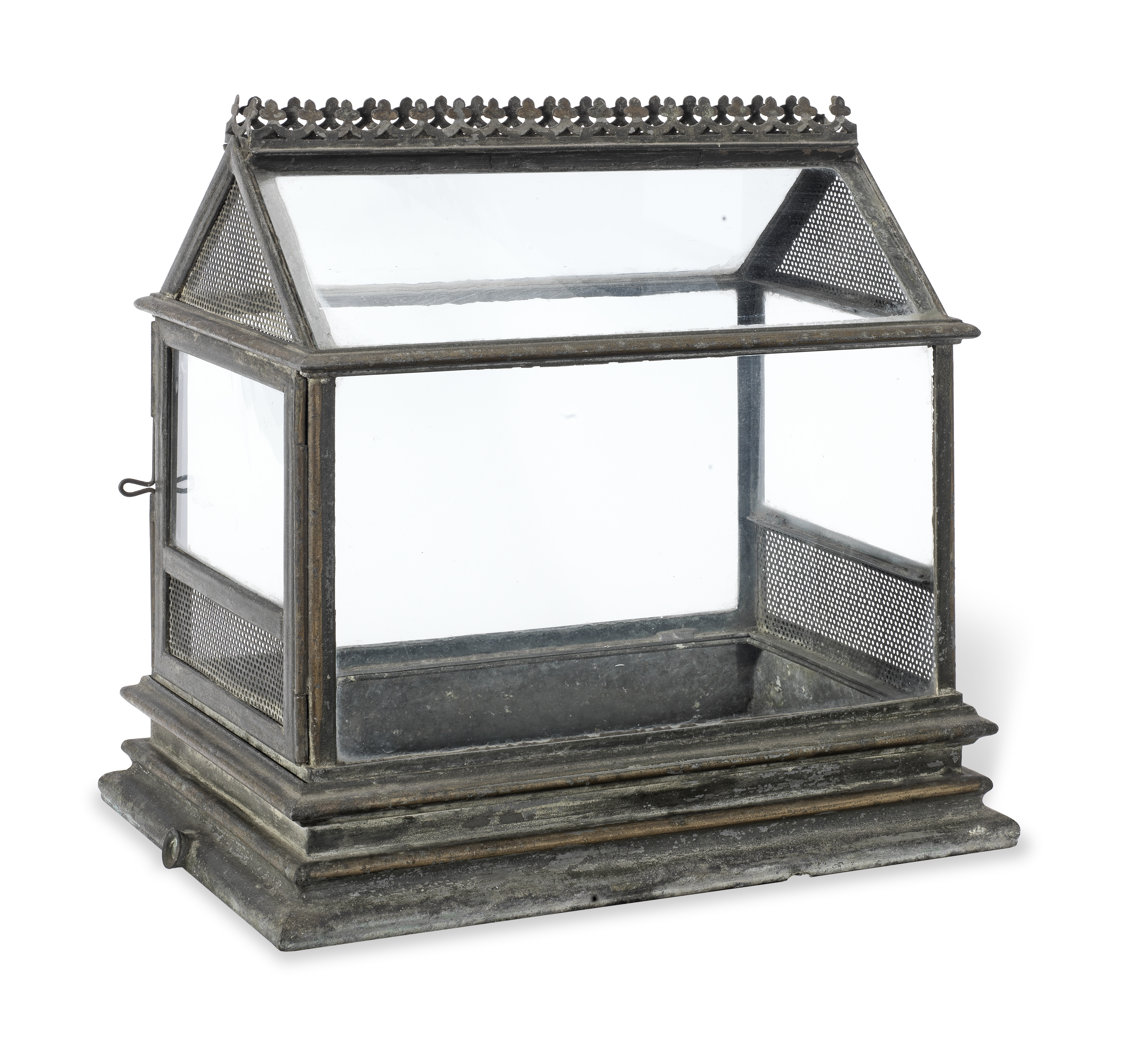 A mid Victorian japanned tin terrarium in the Gothic revival style 35cm high, 34cm wide, 22cm deep