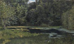 Léon Tanzi (French, 1846-1913) La mare en forêt