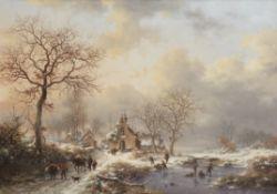 Fredrik Marinus Kruseman (Dutch, 1816-1882) Winter landscape with figures near the chapel 'Notre-...