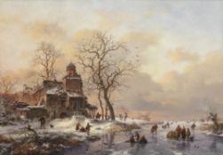 Fredrik Marinus Kruseman (Dutch, 1816-1882) Winter scene with figures skating