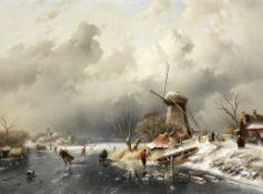 Charles Henri Joseph Leickert (Dutch, 1816-1907) A winter's day at Vaarberg