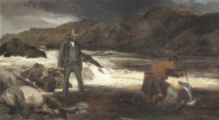 Richard Ansdell, RA (British, 1815-1885) Harrison Blair Fishing on the Spean