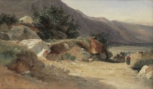 Jules Louis Philippe Coignet (French, 1798-1860) Paysage rocheux animé de personnages sur un...