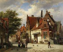 Willem Koekkoek (Dutch, 1839-1895) Street scene, old Rotterdam