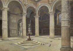 Antonietta Brandeis (Czech, 1849-1926) The courtyard of the Palazzo Vecchio, Florence