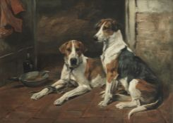 John Emms (British, 1843-1912) Buckhounds at rest