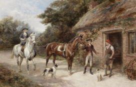 Heywood Hardy (British, 1843-1933) A visit to the blacksmith