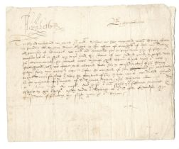 ELIZABETH I Warrant signed ('Elizabeth R') at head and headed 'By the Queene', Windsor Castle, 2...