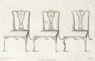 CHIPPENDALE (THOMAS) The Gentleman and Cabinet-Maker's Director, 77 plates only, [c.1754]; with M...