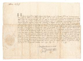 HENRY VIII Letter signed and subscribed ('Vester bonus amicus Henry R') London, 14 July 1524