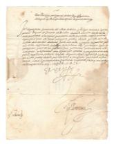 PHILIP II OF SPAIN Letter signed ('El Rey') as King of England ('Rey de Ingleterra') Hampton Cou...