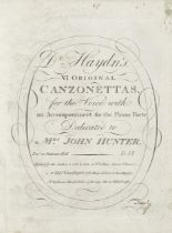 MUSIC - HAYDN (JOSEPH) Dr Haydn's VI Original Canzonettas, for the Voice with an Accompaniment fo...